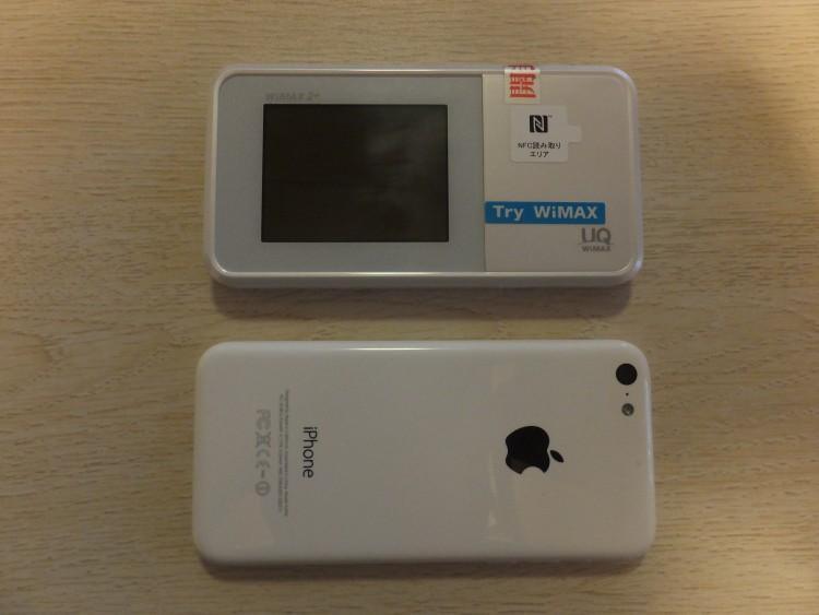 WiMAX(ワイマックス)とiPhoneの大きさ比較