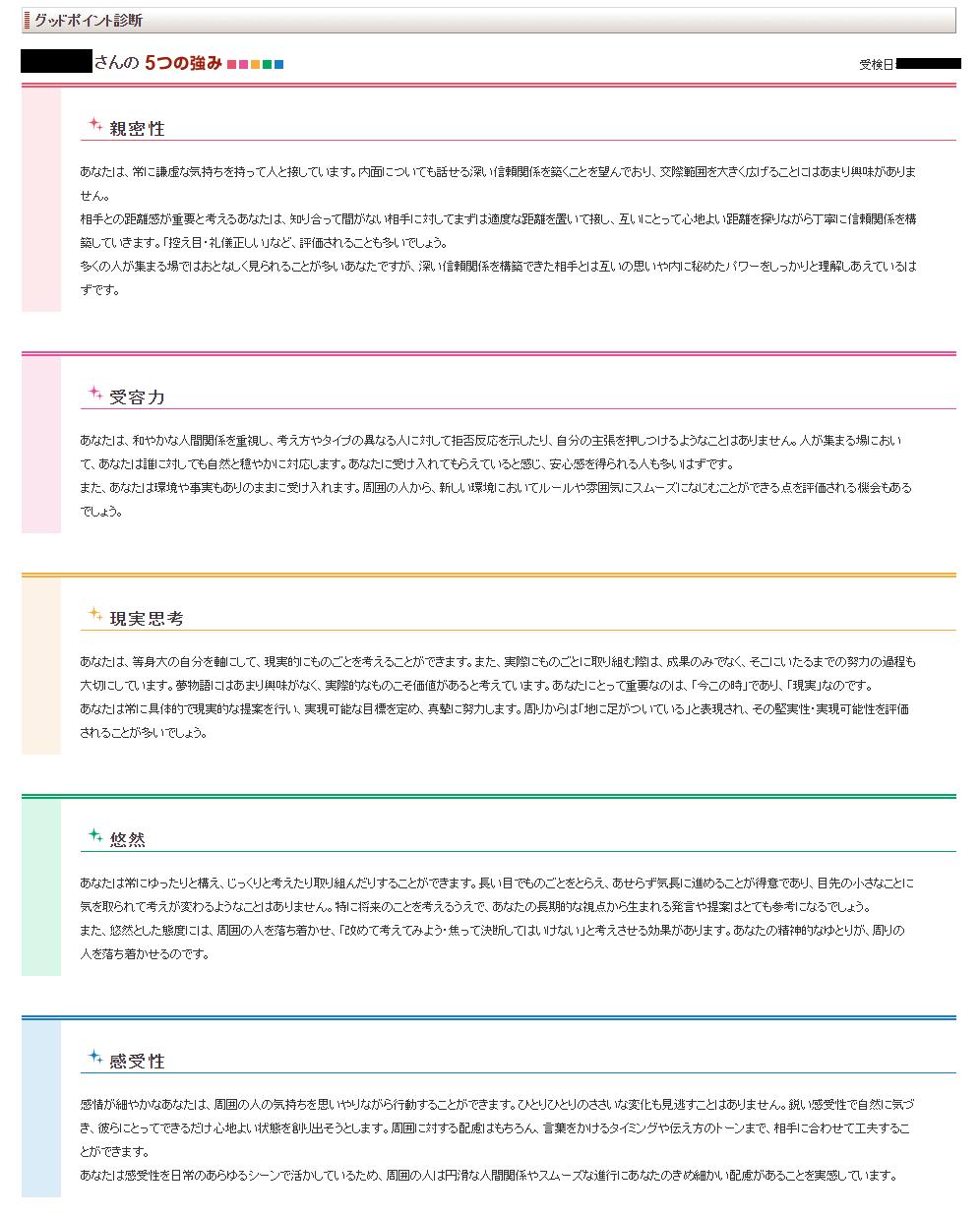 「リクナビNEXT」グッドポイント診断の結果